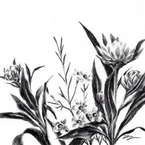 (CreativeWork) Floral - Framed, ready to hang  by Jahne Meyer. drawing. Shop online at Bluethumb.
