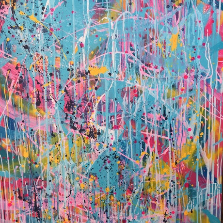 (CreativeWork) The Party by Jemma Attwater. Acrylic Paint. Shop online at Bluethumb.