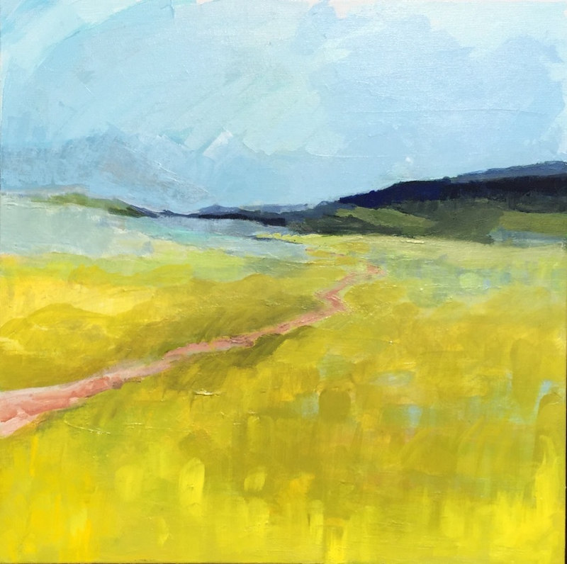 (CreativeWork) Landscape Path to the Mountains by Elizabeth Braun. arcylic-painting. Shop online at Bluethumb.