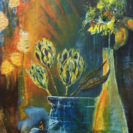 (CreativeWork) Proteas, a sunflower and other florals  by Donna Woodhouse. Mixed Media. Shop online at Bluethumb.
