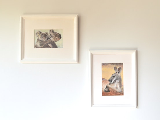 (CreativeWork) Mother and baby koala - framed by Jan Matson. Oil. Shop online at Bluethumb.