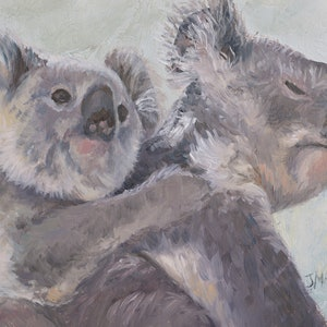 (CreativeWork) Mother and baby koala - framed by Jan Matson. oil-painting. Shop online at Bluethumb.