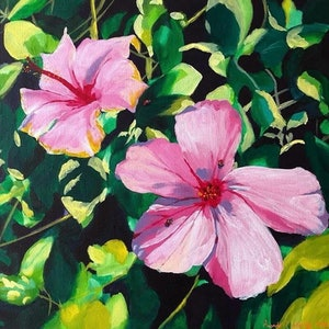 (CreativeWork) Pink Hibiscus by Amanda Kimberley. arcylic-painting. Shop online at Bluethumb.