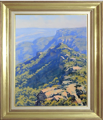 (CreativeWork) Blue Mountains Landscape by Graham Gercken. Oil Paint. Shop online at Bluethumb.