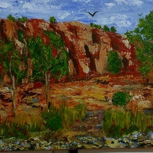 (CreativeWork) Along the Murray by Alison Duke. acrylic-painting. Shop online at Bluethumb.