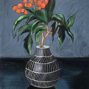 (CreativeWork) Murray's Vase Part 1 by Sally Browne. oil-painting. Shop online at Bluethumb.