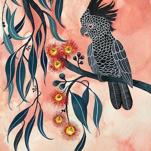 (CreativeWork) Black Cockatoo and Red Gum Blossoms by Sally Browne. watercolour. Shop online at Bluethumb.