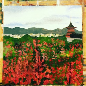 (CreativeWork) Kyoto  by Sandy Chen. oil-painting. Shop online at Bluethumb.