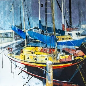 (CreativeWork) Hasting Jetty by Rosa d'Argent. arcylic-painting. Shop online at Bluethumb.