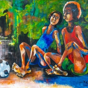 (CreativeWork) Half Time by Rosa d'Argent. arcylic-painting. Shop online at Bluethumb.