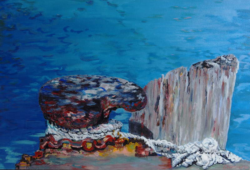 (CreativeWork) Rope on Wharf by Carmen Griffen. arcylic-painting. Shop online at Bluethumb.