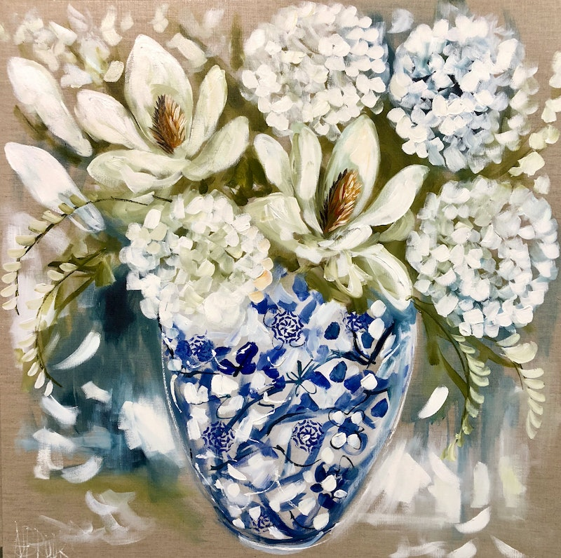 Antique Vase And White Blooms By Amanda Brooks Paintings For Sale