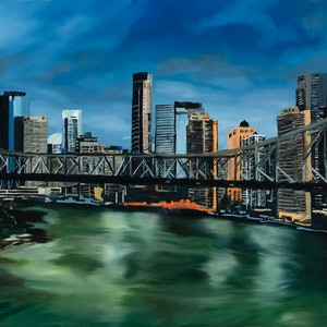 (CreativeWork) Story Bridge at Night by Meredith Howse. oil-painting. Shop online at Bluethumb.