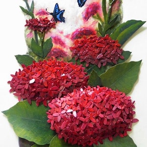 """(CreativeWork) Red  Flowers """"Red Ixora"""" by Petra Meikle de Vlas. other-media. Shop online at Bluethumb."""