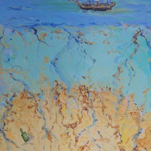 (CreativeWork) Message in a Bottle by Rodney Cassidy. arcylic-painting. Shop online at Bluethumb.