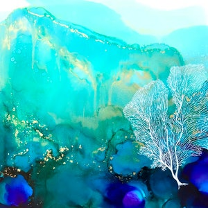 (CreativeWork) Aqua Waters 2 by Donna Maloney. other-media. Shop online at Bluethumb.