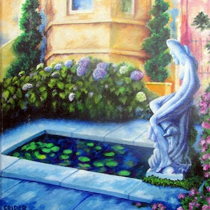 (CreativeWork) Tuscan Garden. by Jillian Crider. arcylic-painting. Shop online at Bluethumb.