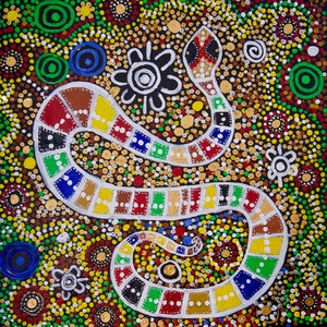 (CreativeWork) The Rainbow Serpent.  by Cynthia Farr. arcylic-painting. Shop online at Bluethumb.