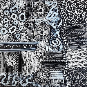 "(CreativeWork) ""Bush Onion Dreaming - Black & White Night-Time"".    Abstract Indigenous Art. Large Painting by Japanangka Hudson. arcylic-painting. Shop online at Bluethumb."