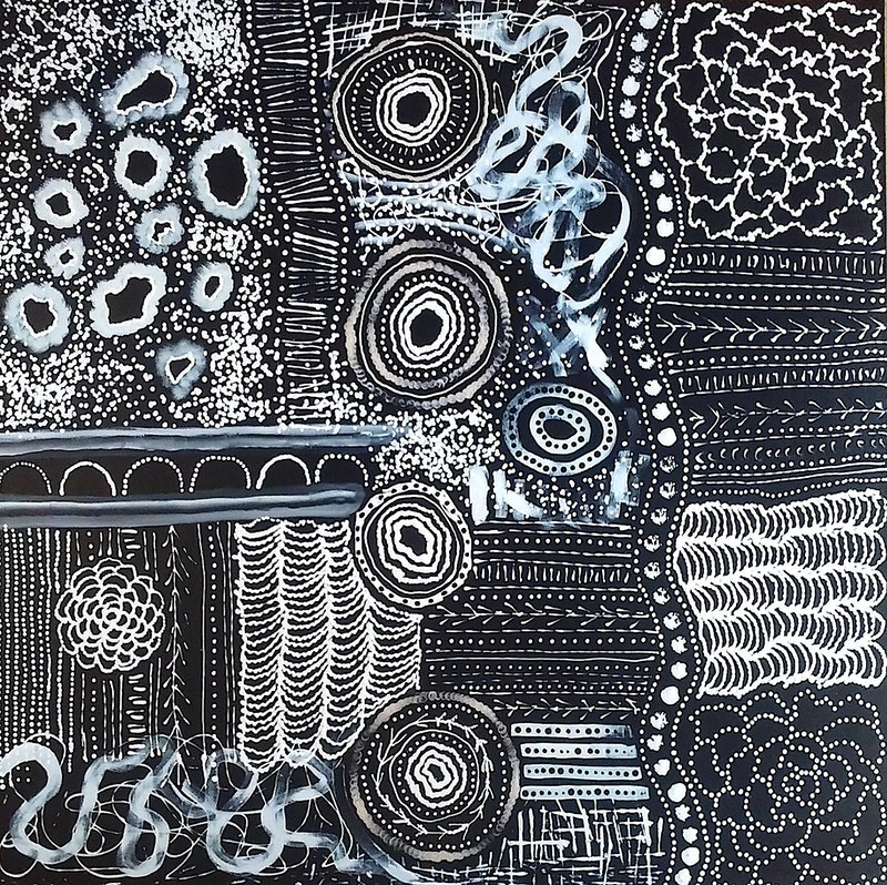 Bush Onion Dreaming Black White Night Time Abstract Indigenous Art Large Painting
