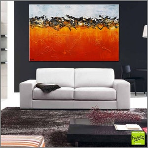 (CreativeWork) Burnt Orange Landscape  160cm x 100cm  Blue sienna outback landscape texture acrylic gloss finish abstract painting by _Franko _. arcylic-painting. Shop online at Bluethumb.