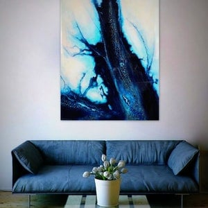 (CreativeWork) Wall art - Let it Be Blue by Petra Meikle de Vlas. other-media. Shop online at Bluethumb.