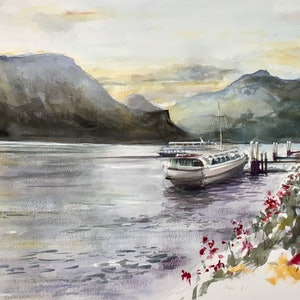 (CreativeWork) Days End , Bellagio, Lake Como , Italy by Geoff Stanistreet. watercolour. Shop online at Bluethumb.