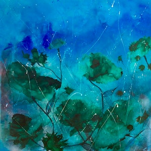 (CreativeWork) Emerald Dreams 100x100x1.5 ready to hang  by Louise Croese. other-media. Shop online at Bluethumb.