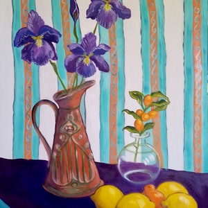 (CreativeWork) Cumquat May by Kerry Ann Harvey. oil-painting. Shop online at Bluethumb.