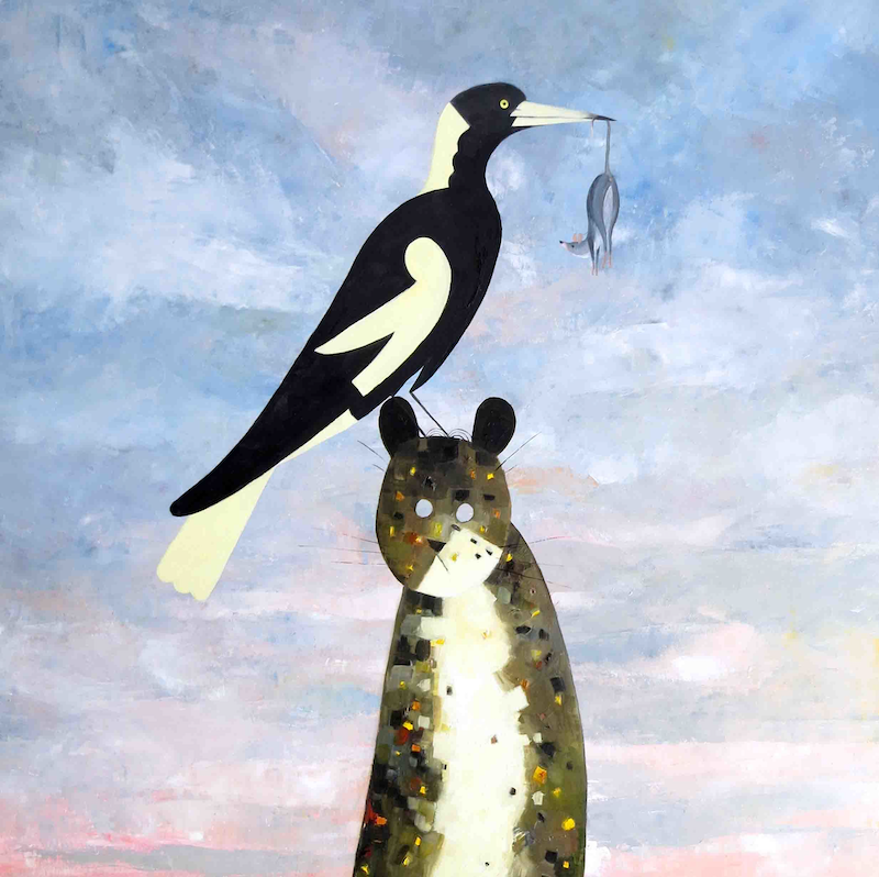 (CreativeWork) Ménage à trois - the cat, the Magpie and the Door Mouse - Brand new series number one  by John Graham. oil-painting. Shop online at Bluethumb.