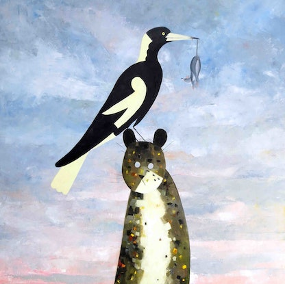 (CreativeWork) Ménage à trois - the cat, the Magpie and the Door Mouse - Brand new series number one  by John Graham. Oil Paint. Shop online at Bluethumb.