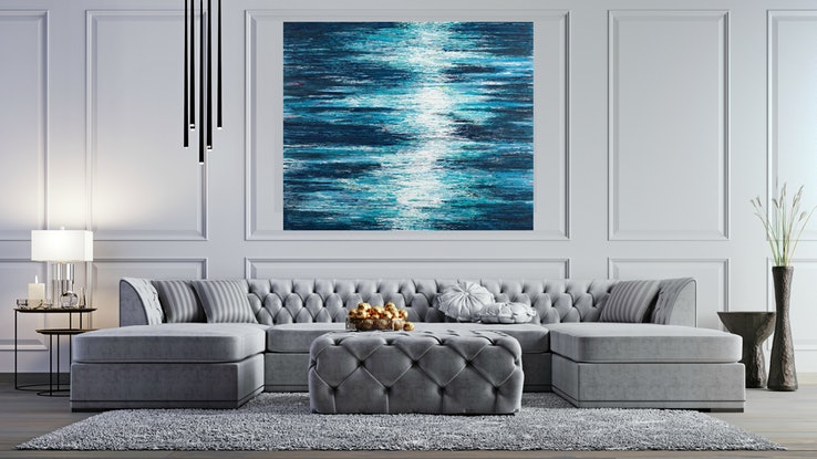 (CreativeWork) Moonlight Across The Waters 2018 by Annette Spinks. Acrylic Paint. Shop online at Bluethumb.