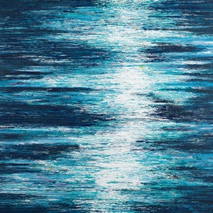 (CreativeWork) Moonlight Across The Waters 2018 by Annette Spinks. arcylic-painting. Shop online at Bluethumb.