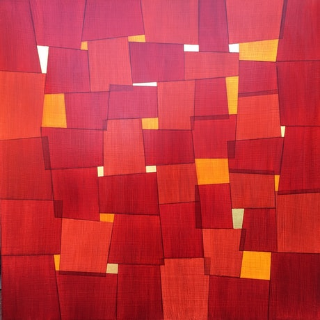 (CreativeWork) crimson and sienna windows 3 by John Cottrell. Acrylic Paint. Shop online at Bluethumb.