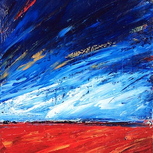 (CreativeWork) Outback Sky 2 by David Clare. oil-painting. Shop online at Bluethumb.