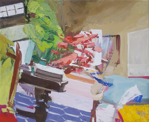 (CreativeWork) Room with Books and Plants by Lise Temple. Oil Paint. Shop online at Bluethumb.