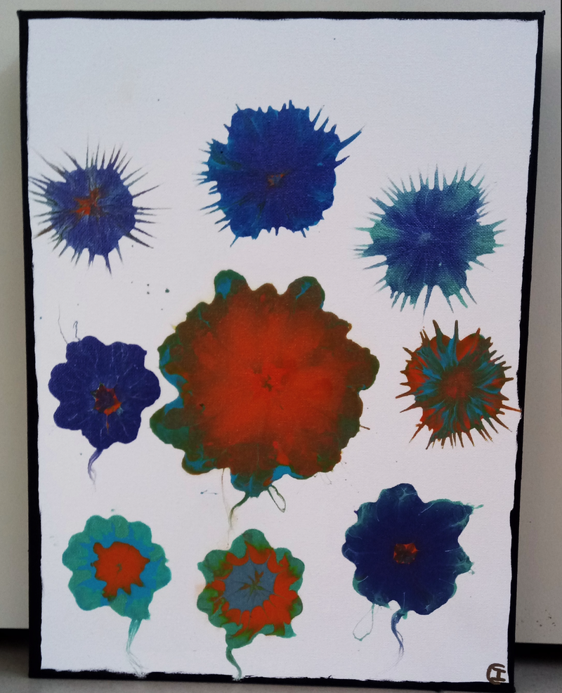 (CreativeWork) Flowers Abstract Acrylic Ready to hang Signed by Isabelle Caille. arcylic-painting. Shop online at Bluethumb.