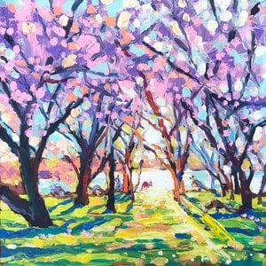 (CreativeWork) Spring. Canberra. Kangaroos. by Valentyna Crane. arcylic-painting. Shop online at Bluethumb.