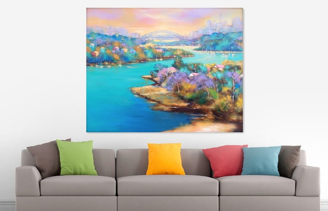 (CreativeWork) Sydney Harbour  by Michele Forbes. Acrylic Paint. Shop online at Bluethumb.