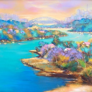 (CreativeWork) Sydney Harbour  by Michele Forbes. arcylic-painting. Shop online at Bluethumb.