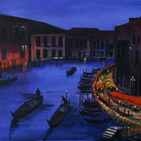 (CreativeWork) Dusk in Venice by Fay 'O' Gelletly. Acrylic Paint. Shop online at Bluethumb.