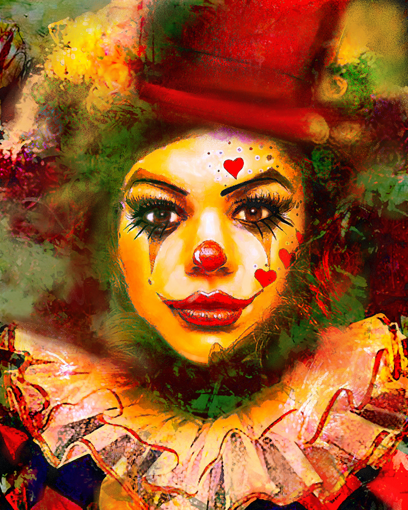 (CreativeWork) Lady Clown (original) by Gerard Mignot. watercolour. Shop online at Bluethumb.