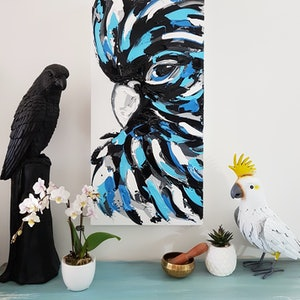 (CreativeWork) Black Cockatoo on White by Lisa Fahey. arcylic-painting. Shop online at Bluethumb.