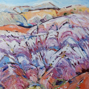 (CreativeWork) SANTA FE MOUNTAINS by Maureen Finck. oil-painting. Shop online at Bluethumb.