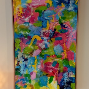 (CreativeWork) HAPPY ( Framed ) by Tracy Hocking. arcylic-painting. Shop online at Bluethumb.