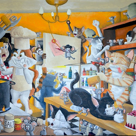 (CreativeWork) Chaos in the Kitchen by Winton Bochanowicz. Acrylic Paint. Shop online at Bluethumb.