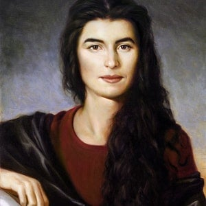 (CreativeWork) Phaedra. Portrait of a Greek Girl by Glen Vause. oil-painting. Shop online at Bluethumb.