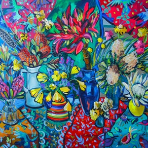 (CreativeWork) Still Life with Flowers and Gymea Lily by Katerina Apale. arcylic-painting. Shop online at Bluethumb.