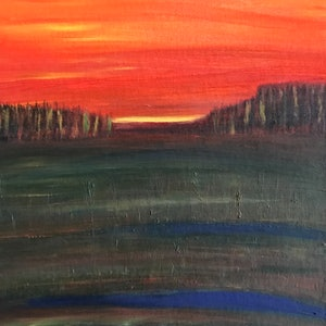 (CreativeWork) Dawn in the valley- 2018 by Fiona Cadd. oil-painting. Shop online at Bluethumb.