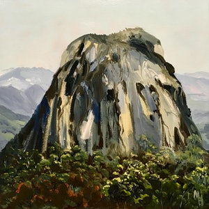 (CreativeWork) Mt Tibrogargan - Glass House Mountains  by Meredith Howse. oil-painting. Shop online at Bluethumb.
